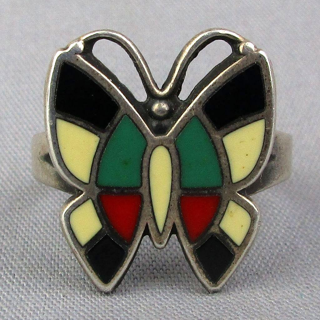 Vintage Sterling Silver BELL Trading Butterfly Ring w/ Inlay Stones