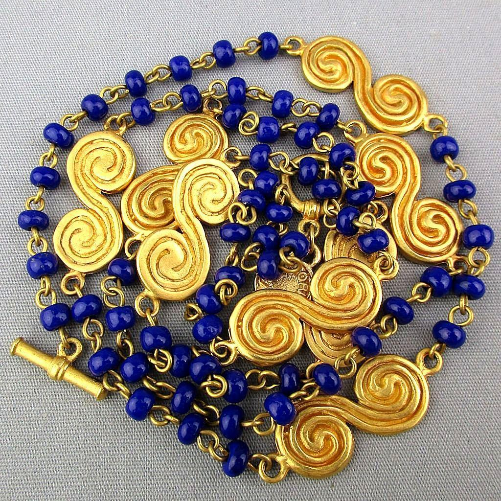 Signed Accesorios Columbian 24k Goldplate Bead Necklace