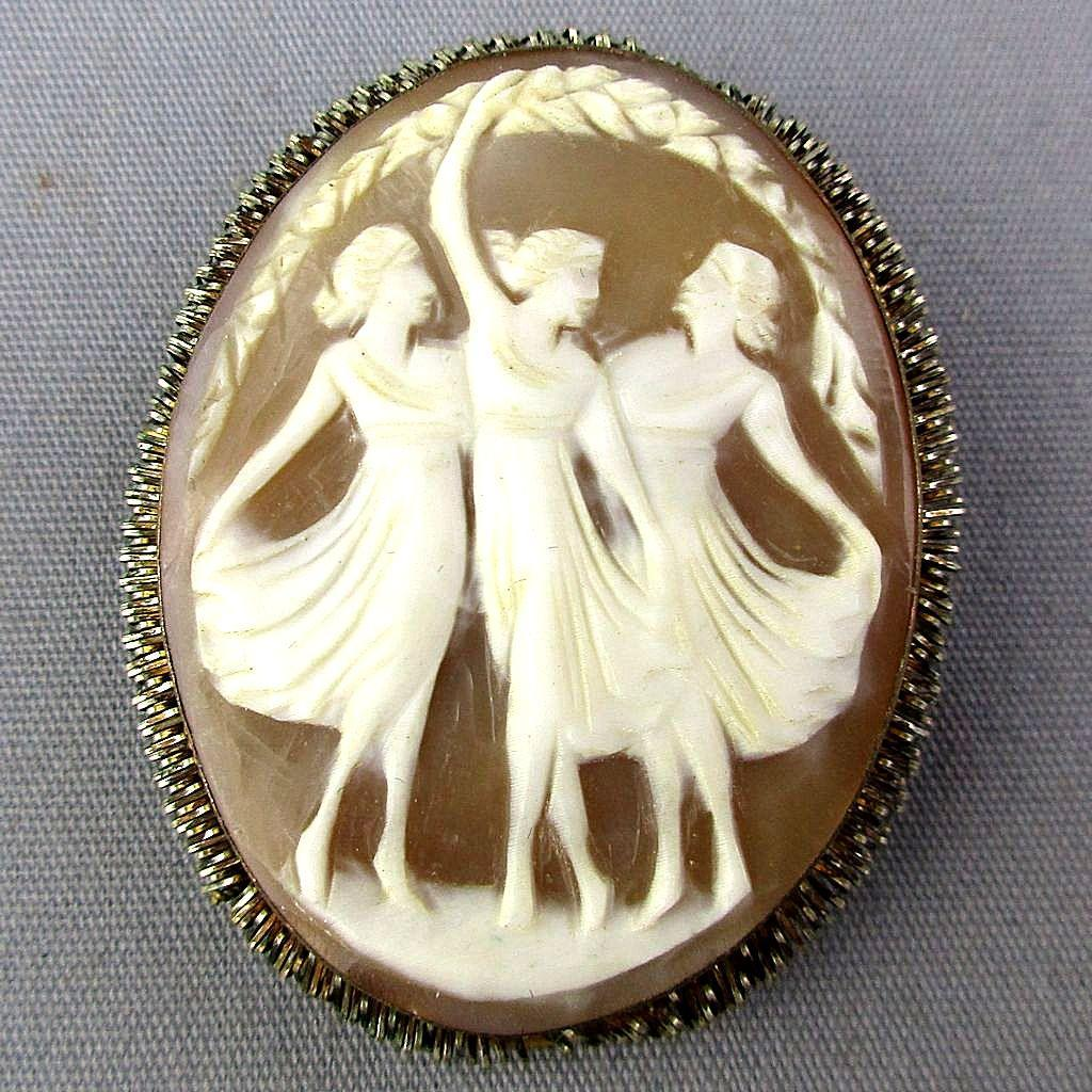 Old Carved Shell Cameo Pin Pendant Three Graces 800 Silver
