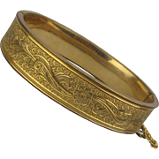 Art Deco Era Gold-Filled Etched Bangle Bracelet Hinged