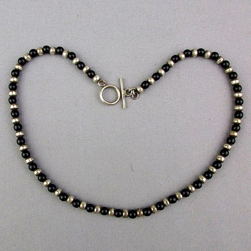 Slinky Sleek Sterling Silver Black Onyx Bead Necklace