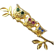 Vintage OWL Pin Brooch - 3 on a Branch Rhinestone Eyes