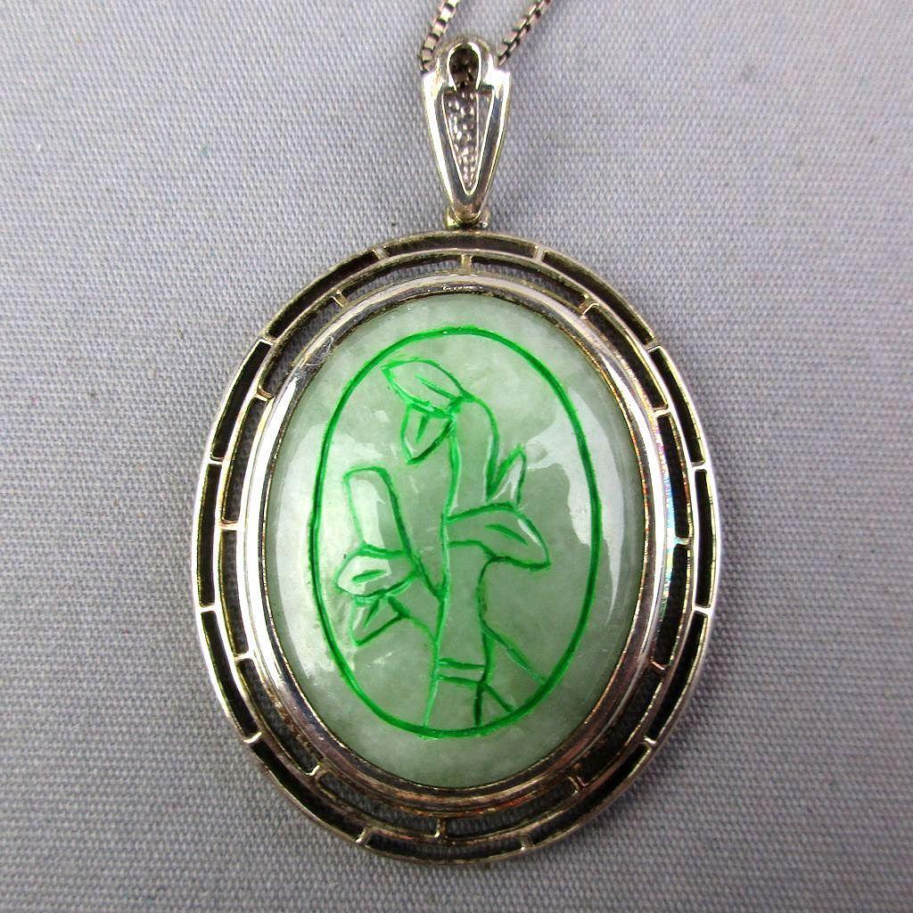 Vintage  Carved Jade Pendant Sterling Silver