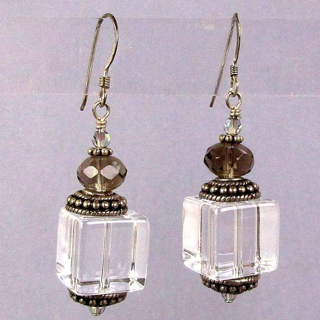 Vintage Crystal Ice Cube Sterling Silver Dangle Earrings