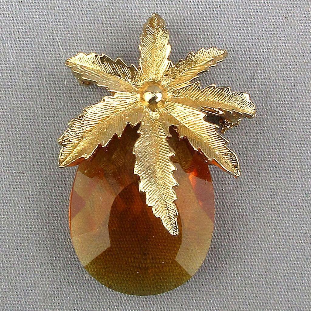 Vintage Glass Goldtone Fruit Pin Signed CANADA