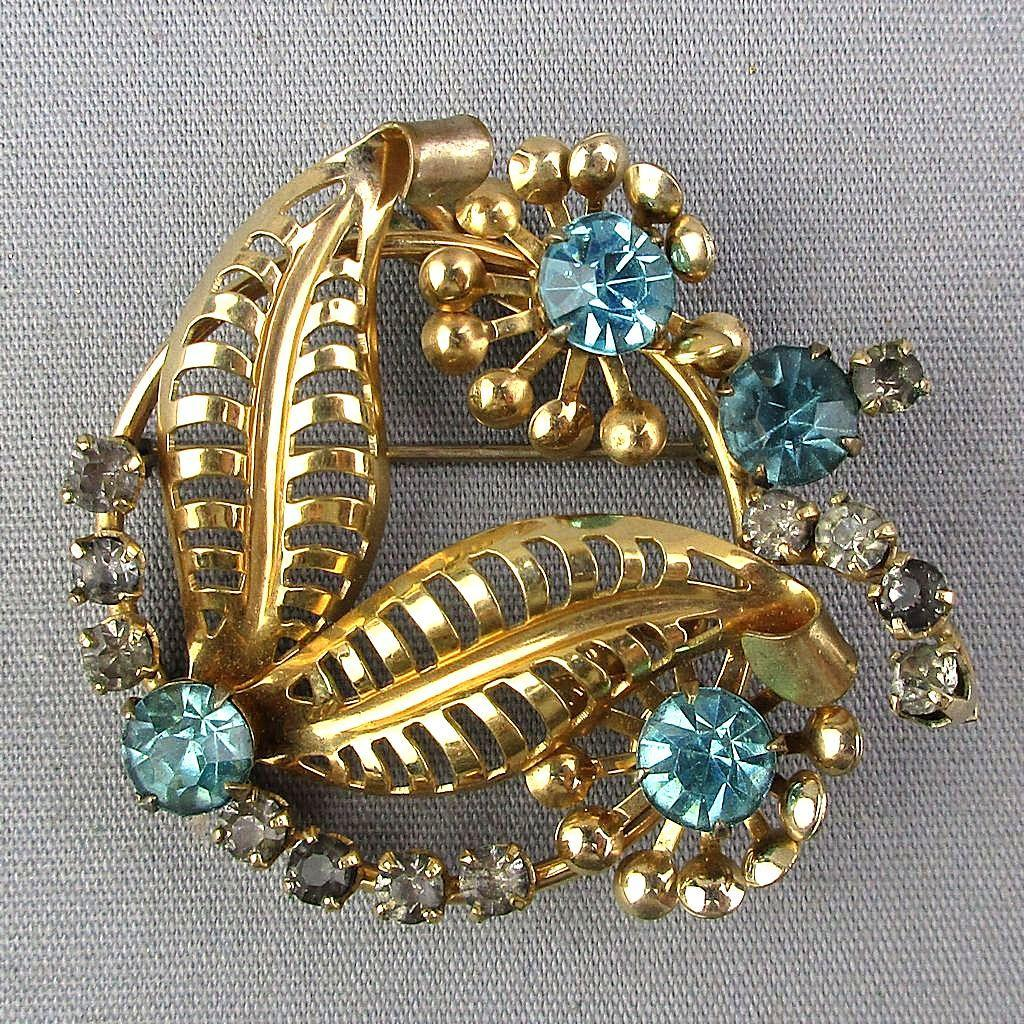 Signed Gold-Filled Pin w/ Faux Topaz Rhinestones 1940s Floral