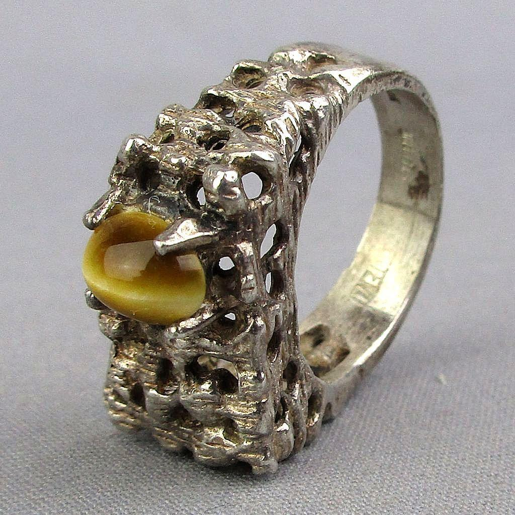 Midcentury Brutalist Sterling Silver Ring w/ Tiger Eye Unisex