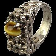 Midcentury Brutalist Sterling Silver Ring w/ Tiger Eye Unisex