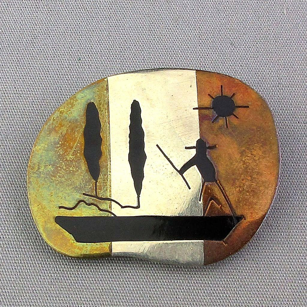 Old Sterling Silver Mexican Pin Inlaid Onyx Boat Man Mixed Metals