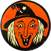 Vintage Kirchhof Halloween Tin Litho Noisemaker Ugly Witch