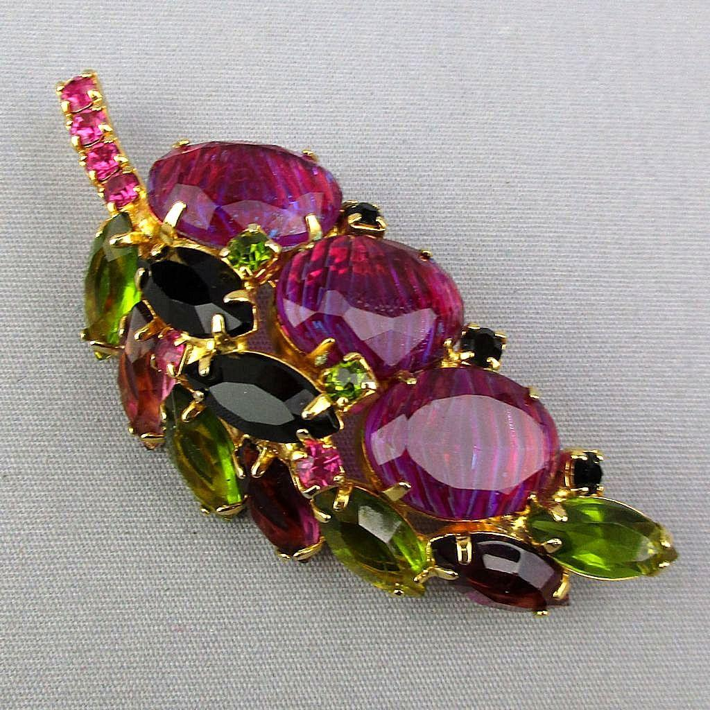Gorgeous Multi-Color Rhinestone Pin Poured Glass