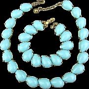 Vintage TRIFARI Necklace Bracelet Set - Turquoise Blue Glass Cabs