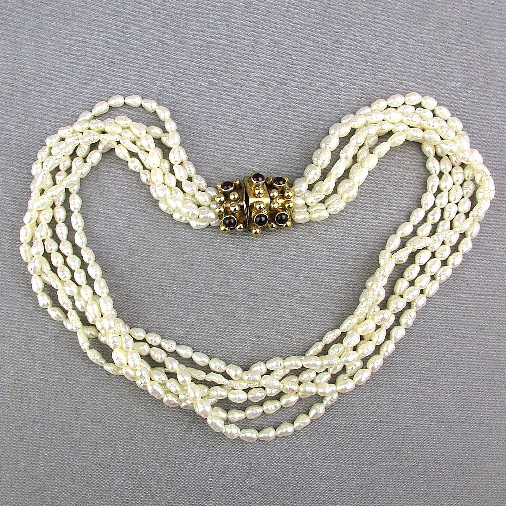Vintage 6 Strand Freshwater Pearl Necklace Torsade w/ Sterling Garnet Clasp