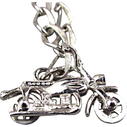 Sterling Silver Starter Charm Bracelet w/ Moving Motorcycle