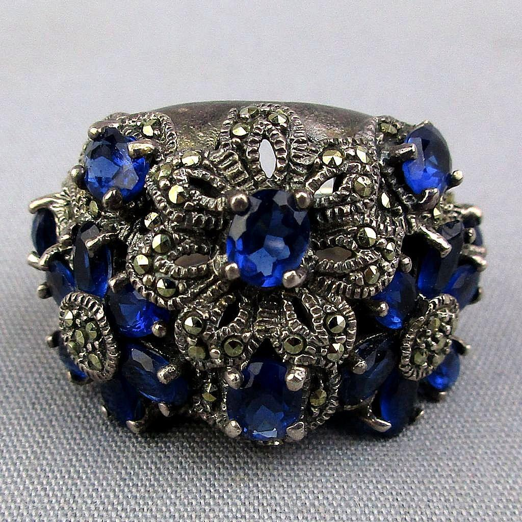 Big Sterling Silver Cocktail Ring w/ Marcasite - Sapphire Crystal