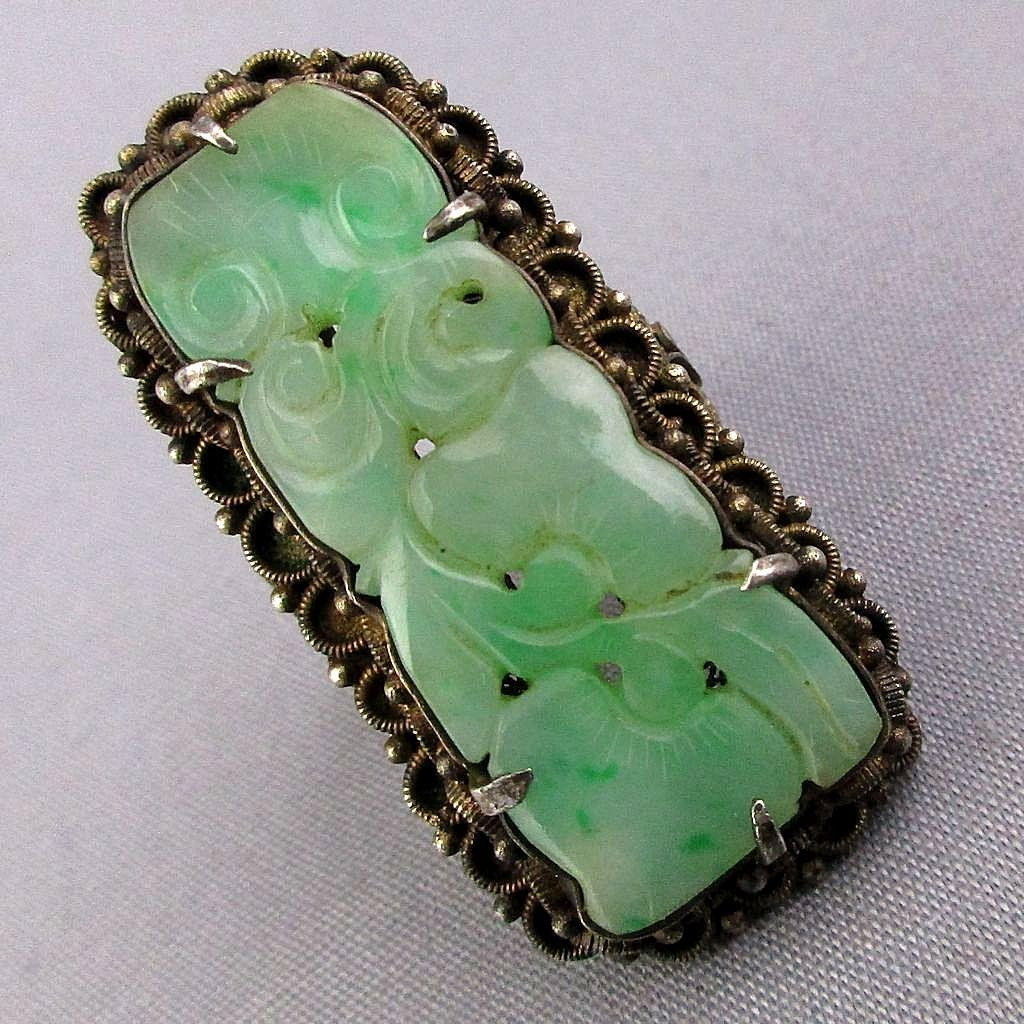 Old 1920s Chinese Silver Carved Jade Ring Jadeite