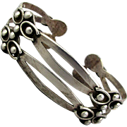 Vintage Sterling Silver Mexican Cuff Bracelet SCP Eagle 1