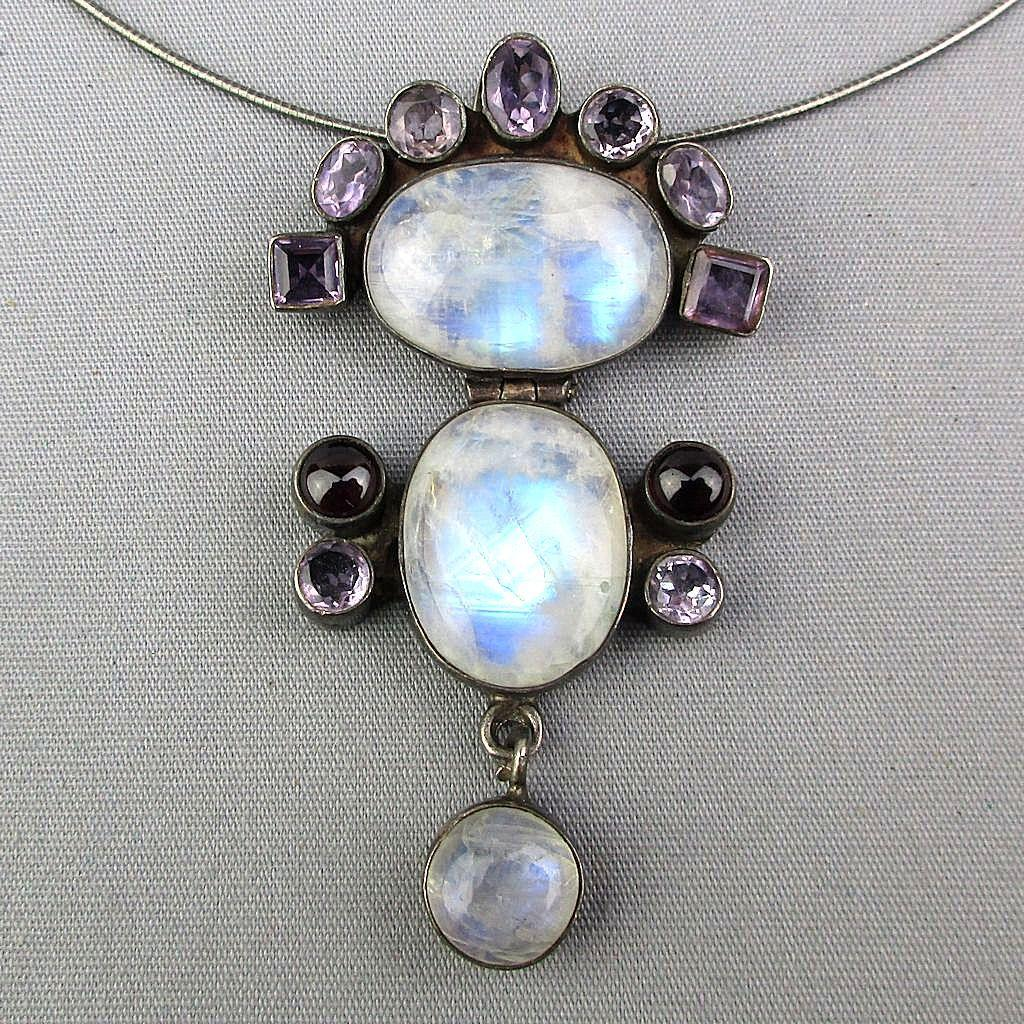 Sterling Silver Opalescent Glass Amethyst Pendant Necklace Triple Drop