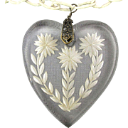 1930s Necklace Clear Lucite Reverse Carved HEART Pendant Celluloid Chain