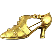 Vintage MMA Metropolitan Museum Art Gilt Shoe Pin Brooch Crystal
