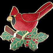Vintage Fish & Crown Cloisonne Guilloche Enamel Pin Red Cardinal Bird