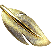 Vintage Givenchy Brushed Goldtone Leaf Pin Brooch
