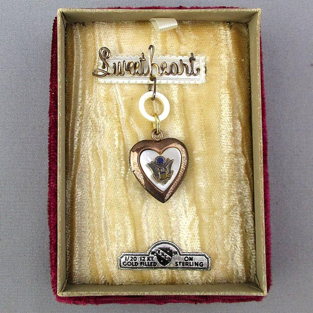 1940s GF Sterling Silver SWEETHEART Pin Locket Heart in Orig. Box