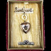1940s GF Sterling Silver SWEETHEART Pin Locket Heart in Orig. Box