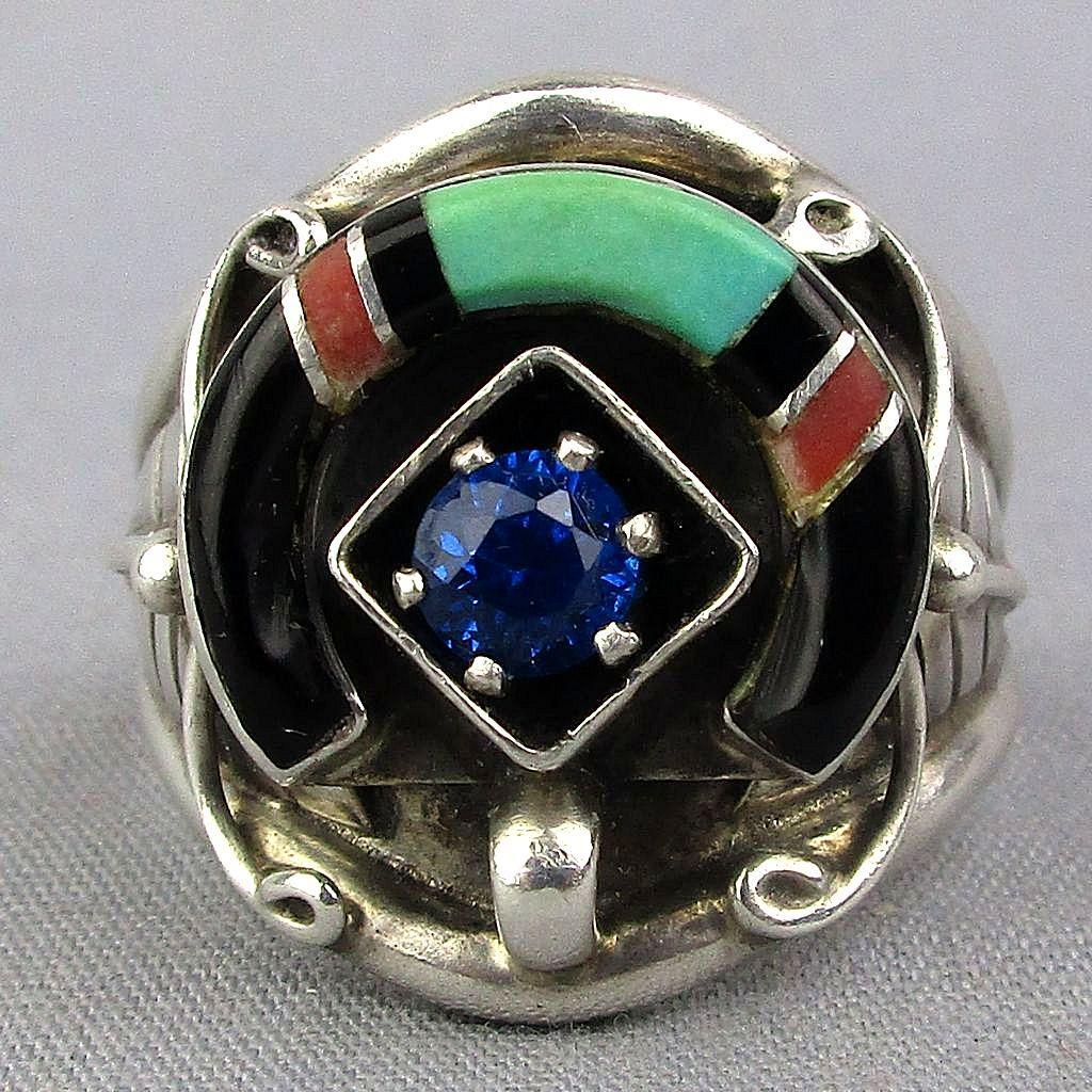 Vintage Navajo Sterling Silver Ring Turquoise Coral Onyx Signed EDE