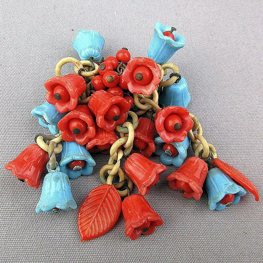 1930s Unsigned Miriam Haskell Glass Bell Flowers Celluloid Dangles Pin