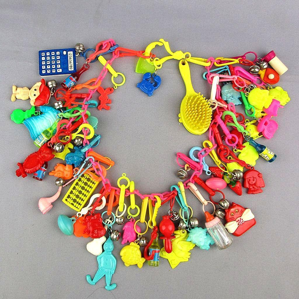 Great Big Colorful Plastic Charm Necklace 40+ Figural Charms