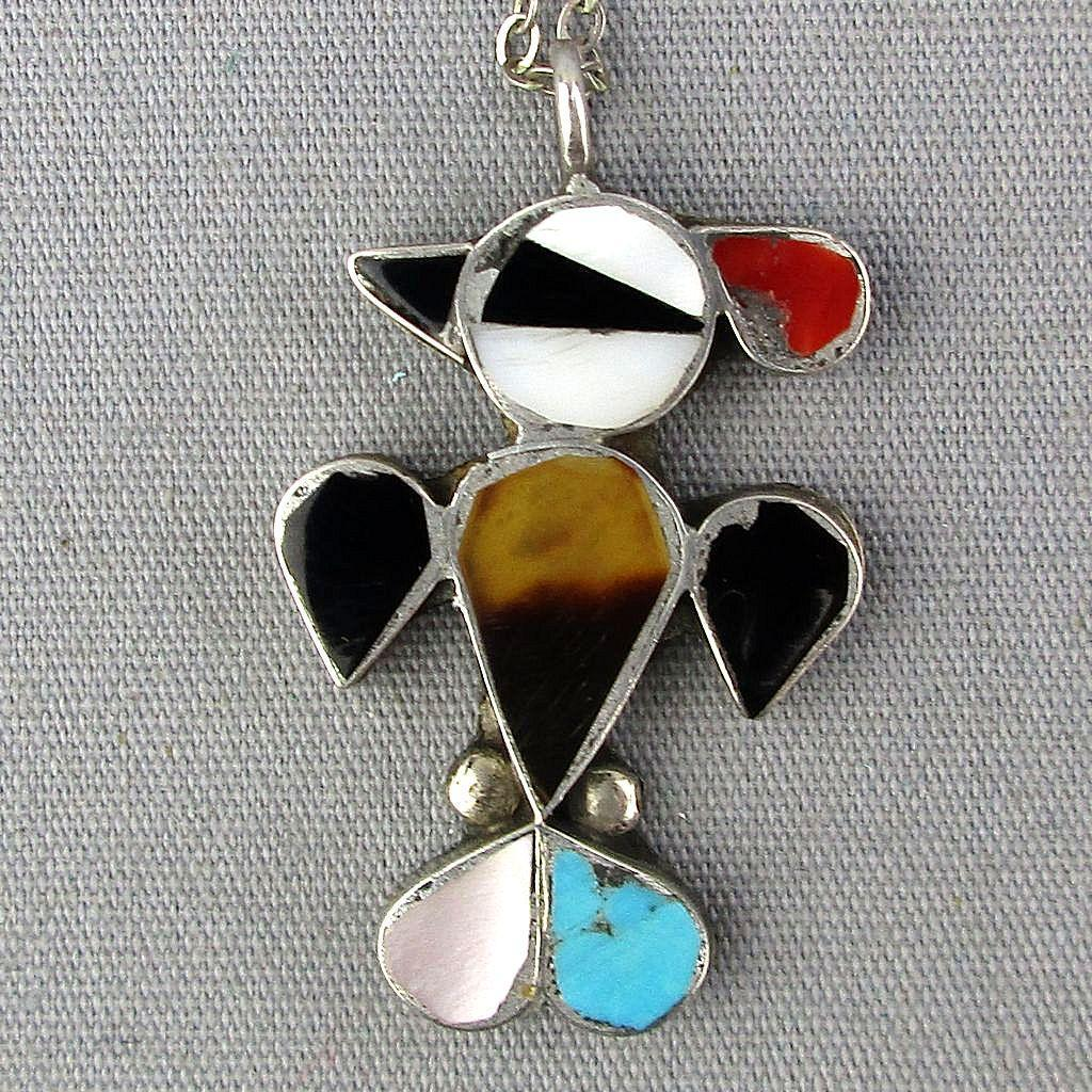 Vintage Navajo Sterling Silver Inlaid Bird Pendant Necklace