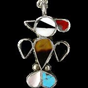 Vintage Navajo Sterling Silver Inlaid Bird Pendant Necklace