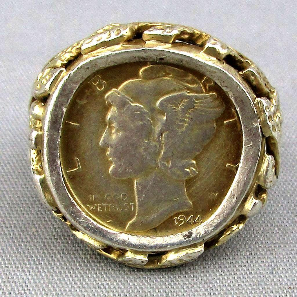 Vintage Sterling Silver Coin Ring 1944 Mercury Dime Size 10