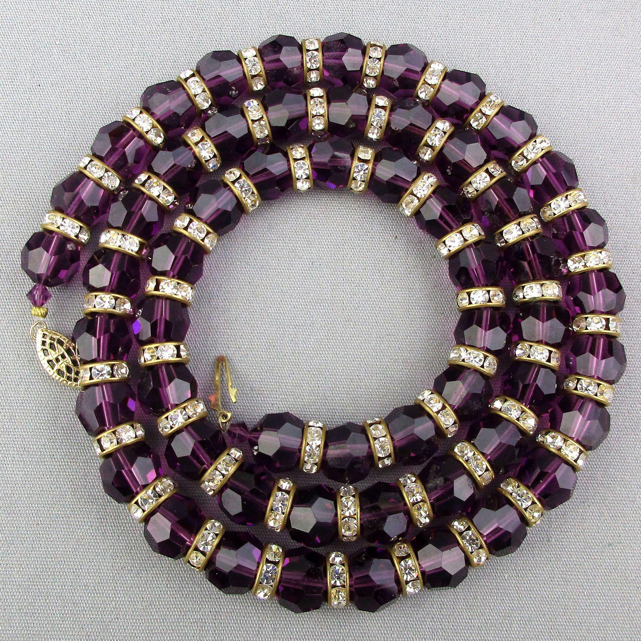 Grand Amethyst Rhinestone Bead Necklace 99 Grams