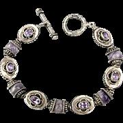 Vintage Sterling Silver Amethyst Bracelet Intricate Bali Craftwork