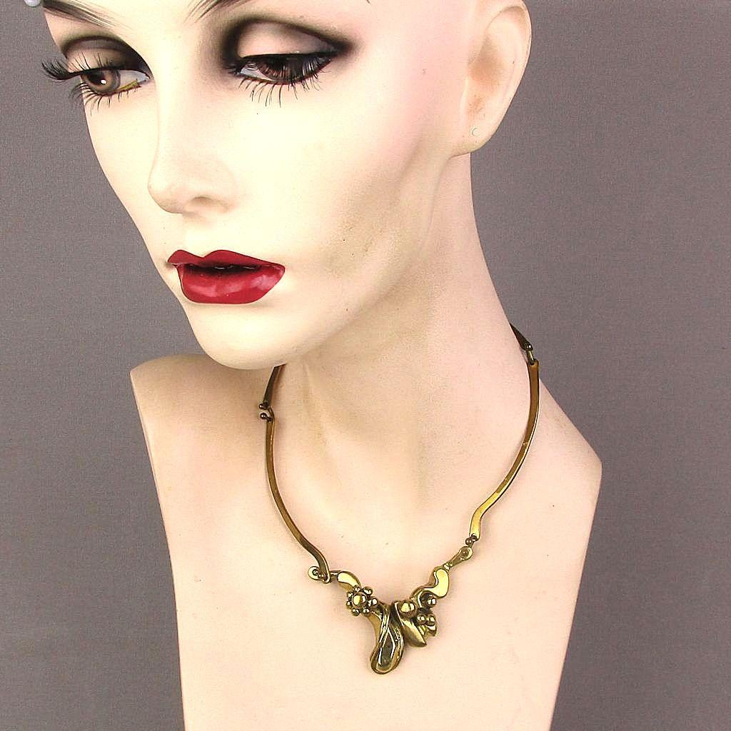 Modernist Signed Handwrought Brass Art Necklace Brutalist