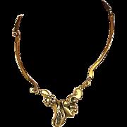 Modernist Signed Handwrought Brass Art Necklace Brutalist