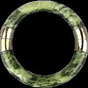 Vintage Jade Bangle Bracelet Marbled Color - Hinged