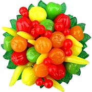 Vintage Plastic Fruit Salad Pin Colorful 1960s Celluloid Brooch