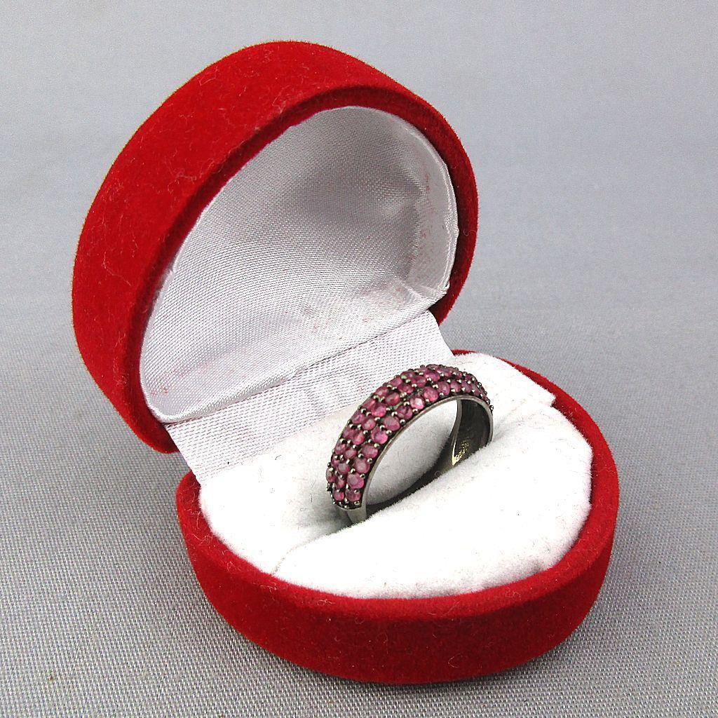 Vintage Sterling Silver Red Garnet Ring Band