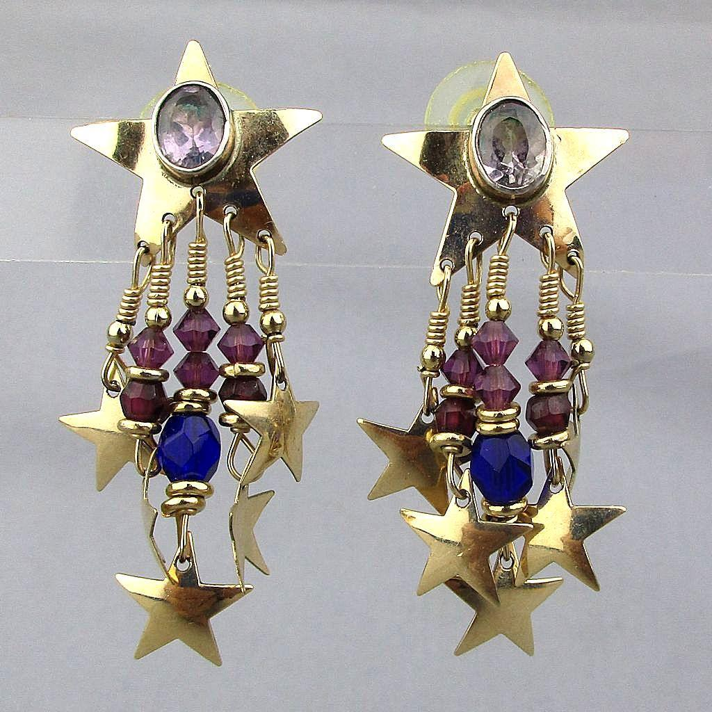 Vintage Signed Tabra Tunoa 14K Gold Post Earrings Star Dangles Amethyst