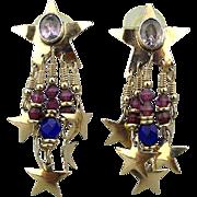 Vintage Signed Tabra Tunoa 14K Gold Post Earrings Star Dangles Amethyst