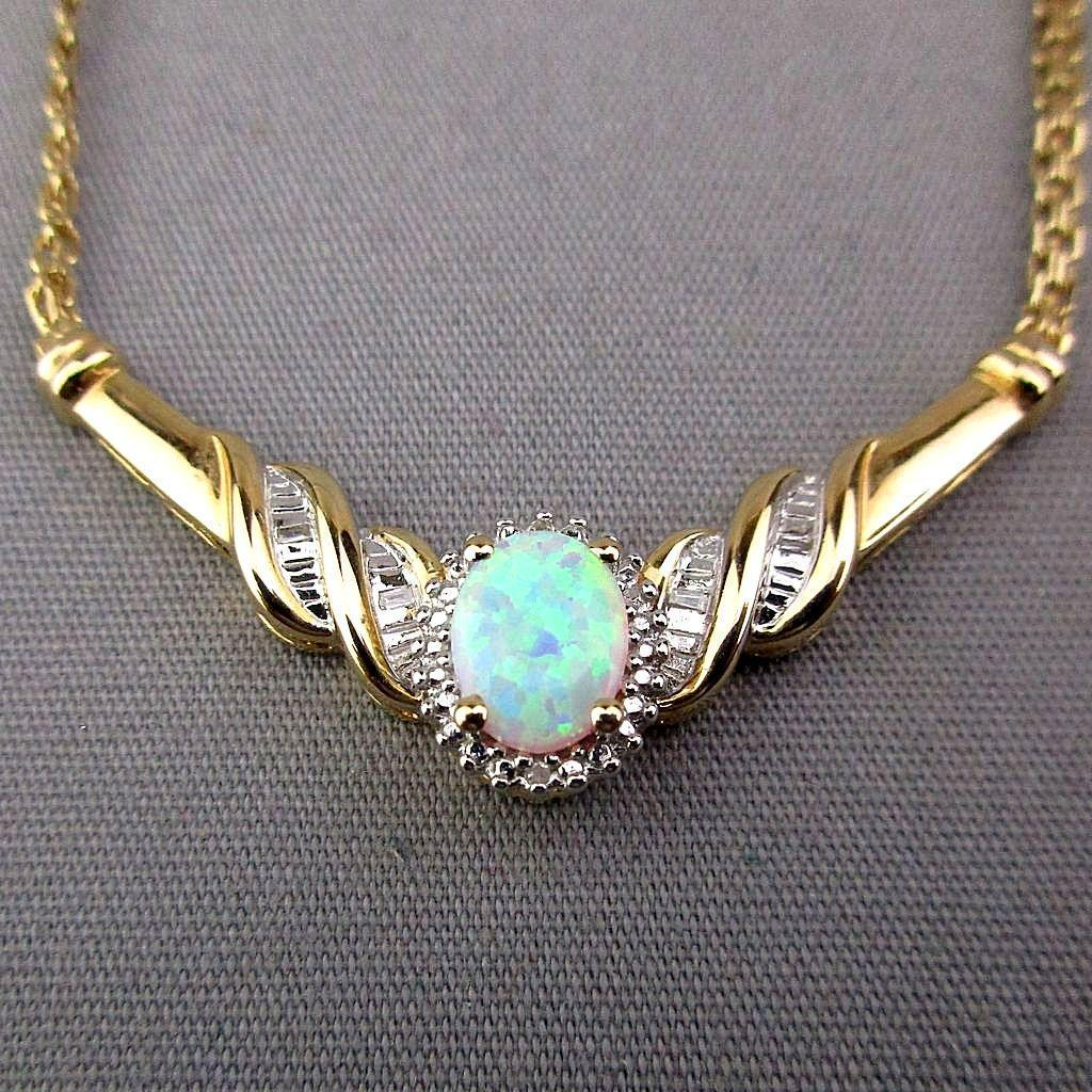 Vintage Italian Gilded Sterling Silver Necklace w/ Opal - Diamonds