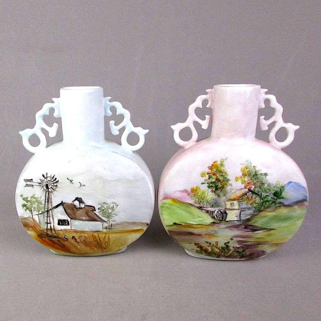 Art Deco Era Pair Signed Pottery Vases Both Sides 4 Scenes