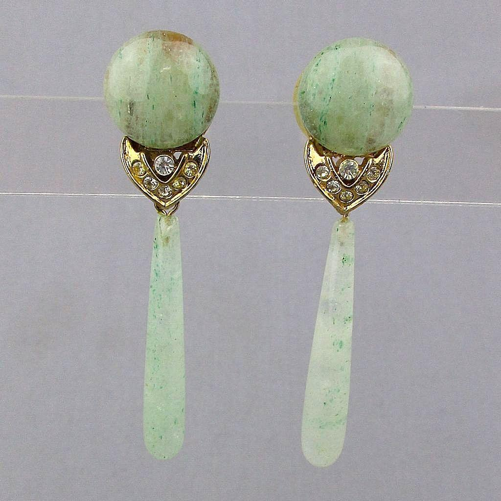 Vintage Jade Teardrop Dangle Earrings