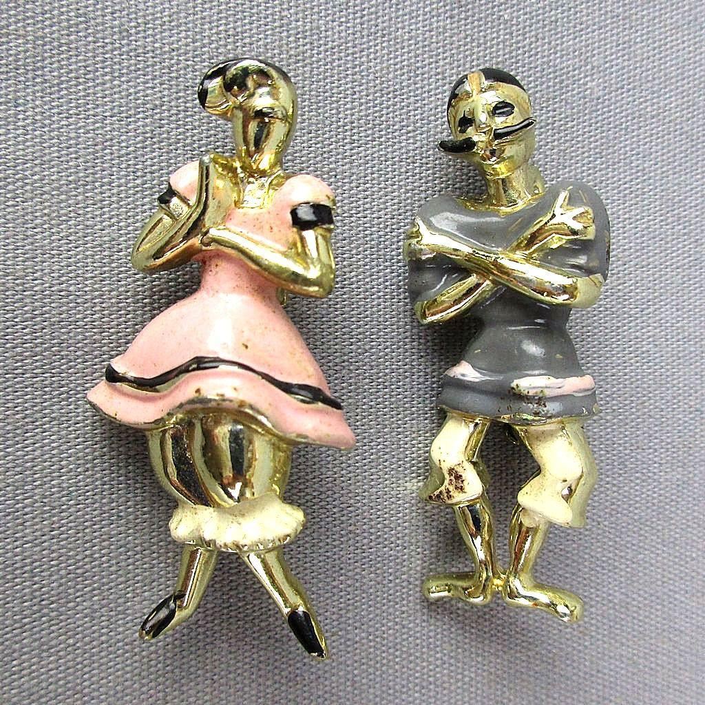 Pair 1950s Scatter Pins Victorian Man Woman Bathers Beach Wear