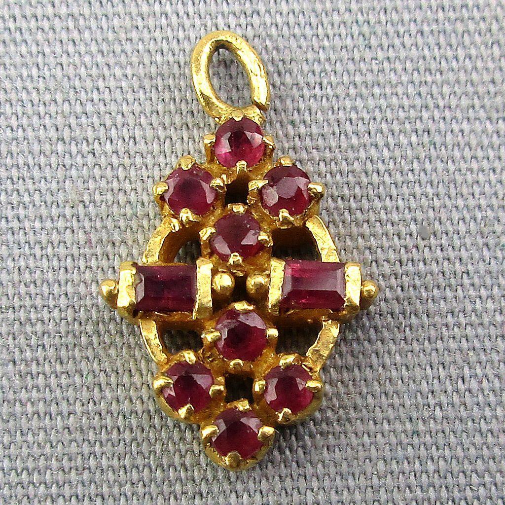 Vintage 22K Gold Pendant Charm w/ 10 Genuine Rubies