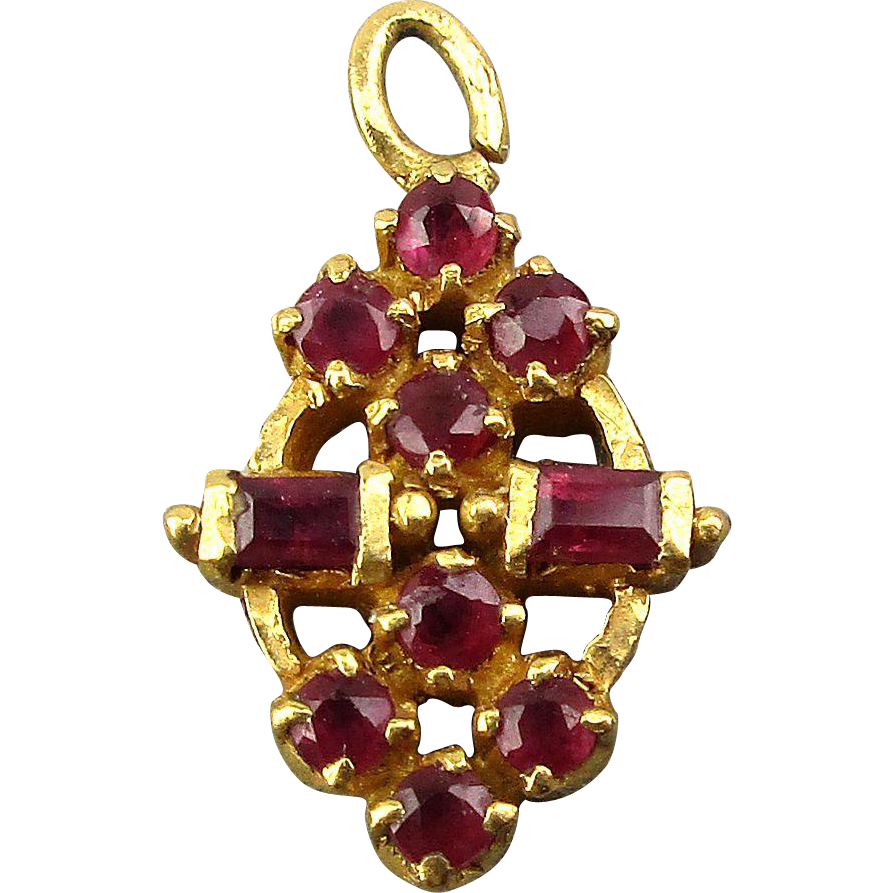 Vintage Solid 22 Carat Gold Necklace Earring Pair Set: Vintage 22K Gold Pendant Charm W/ 10 Genuine Rubies From