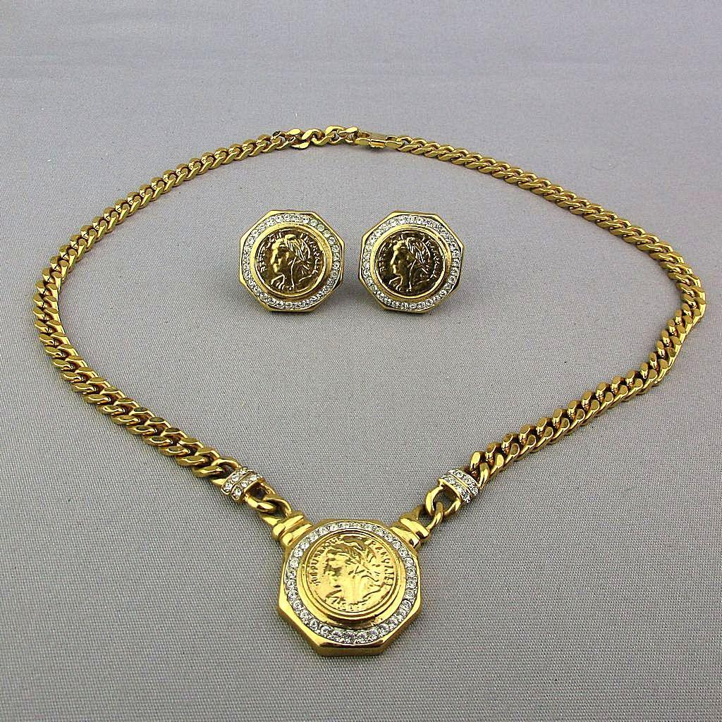 Vintage Coin Set Necklace - Earrings Faux Gold - Diamonds